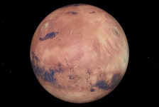 The Red Planet will form a triangle with two other celestial red objects in the mid-evening, western sky this week: Betelgeuse, in the constellation Orion - the Hunter, to its lower left, and Aldebaran, in the constellation Taurus - the Bull, to its lower right.