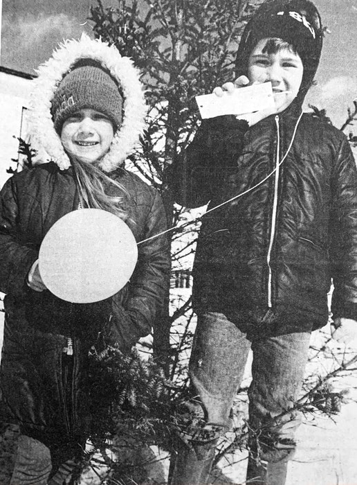Siblings Amanda and Nicky Stewart discovered a balloon outside their Wentworth Road home on March 11, 1986 that had been launched some four days earlier by an Avon, Ohio elementary school student. - File Photo