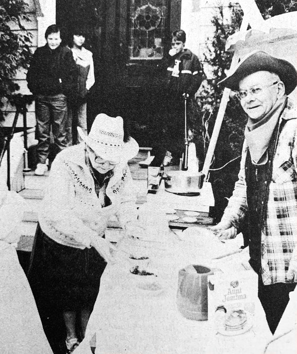 Grant Boyd helped man the hotplate during the Windsor United Baptist Church's free pancake breakfast in March 1986. - File Photo
