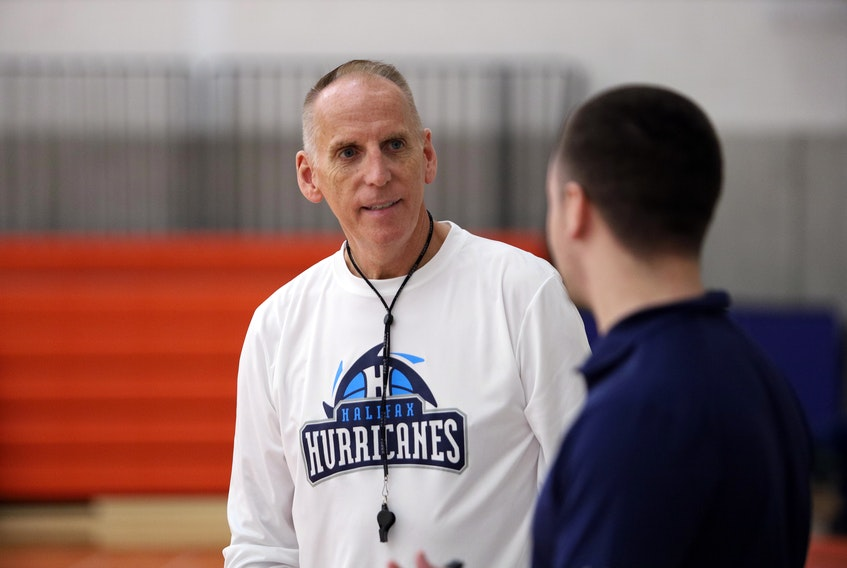 "Halifax Hurricanes head coach Mike Leslie said ""there's some hope and potential"" for the National Basketball League of Canada beginning in December. - Eric Wynne"