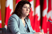Auditor General Karen Hogan at a news conference following the tabling of her reports in Ottawa, March 25, 2021.
