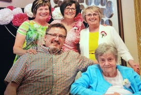 The Stubbert family is grateful for the end of life care provided to their mother Mary by Hospice Cape Breton. From left, front, George Stubbert, Mary Stubbert; back, Hope Gaskell, Joan Stubbert and Iris Murphy. CONTRIBUTED