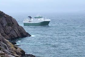 The MV Calvert rounds The Narrows on its approach to St. John's harbour on June 4, 2020.
