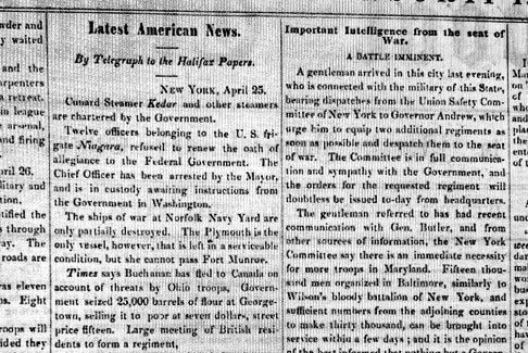 Newspaper clipping caption: Latest American News, Liverpool Transcript, 25 April 1861, vol. 8, no. 8. - Nova Scotia Archives.