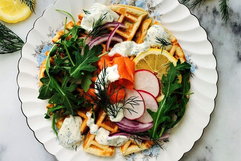 Smoked Salmon and Cream Cheese Waffles