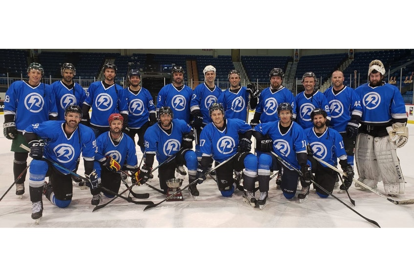 The Shreenan Electric Bolts recently captured the championship division of the Queens County Rec Hockey League. Members of the Bolts, front row, from left, are Matt Carter, Scott Carragher, Ryan Shreenan, Randy Cameron, Marshall Ellis and Robbie Chandler. Second row, Owen Hendrick, Nic Jones, Jon Cameron, Cody Jenkins, Mike Arsenault, Greg O'Brien, Colin Younker, Mark Dolan, Doug Martin, Dan MacRae and Wayne Savage. Missing are Brodie Sanderson, Jason Cameron and Darcy Murnaghan.