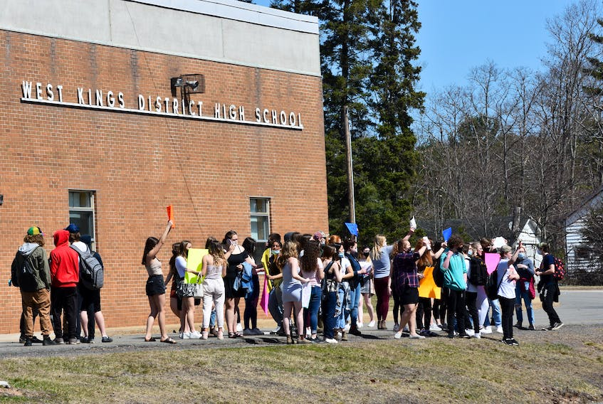 """Students walked out of West Kings District High School in Auburn on Thursday afternoon in support of a female student who says she was suspended after bringing to light a shirt a male student was wearing which included the words 'Tis the season to be rapey."""" - Ashley Thompson"""