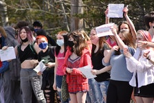 """Students walked out of West Kings District High School in Auburn on Thursday afternoon in support of a female student who says she was suspended after bringing to light a shirt a male student was wearing which read """"'Tis the season to be rapey."""" - Ashley Thompson"""