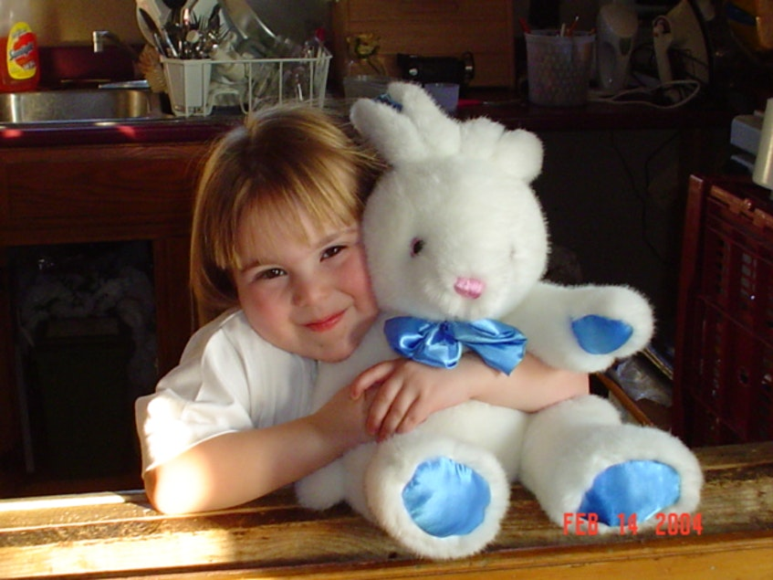 Jocelyn hugging a stuffed bunny when she was a younger girl. PHOTO COURTESY OF FAMILY - Contributed