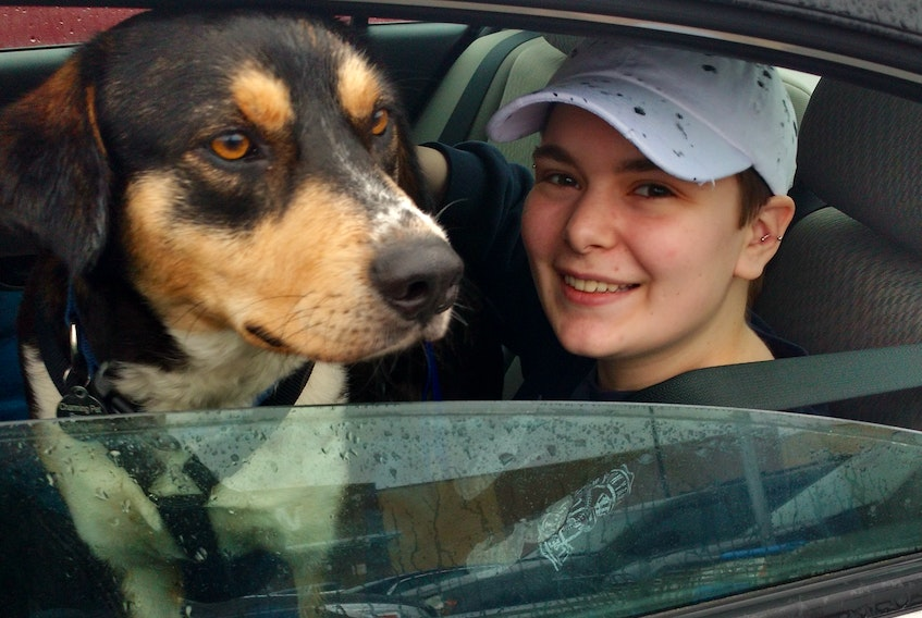Jocelyn Stewart with her rescue dog Amani, who became the love of her life. COURTESY OF FAMILY