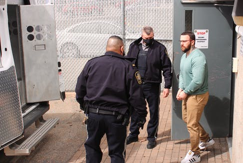 Aaron Shaun Young, 32, of New Waterford was escorted by sheriff deputies Wednesday from the Sydney Justice Centre after he entered a guilty plea to a charge of second-degree murder. Young was charged in connection with the Aug. 27, 2017 murder of 54-year-old James David Matthews. CAPE BRETON POST PHOTO