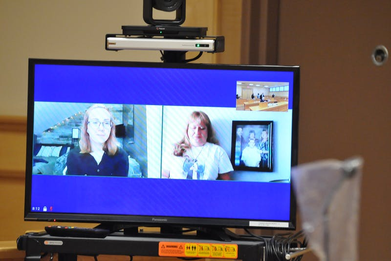 Alexandra MacKenzie (left) and Sherry Pollard appeared via videoconference from Ontario to read their victim impact statements at the trial of Thomas Whittle in Newfoundland and Labrador Supreme Court in Corner Brook on Thursday. — Diane Crocker
