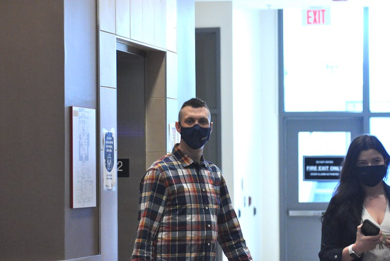 Thomas Whittle of Conception Bay South arrives at the Corner Brook courthouse for the beginning of his sentencing hearing on Thursday. Whittle was convicted in January of causing the death of Justyn Pollard of St. John's in a snowmobile accident in 2017. — Diane Crocker