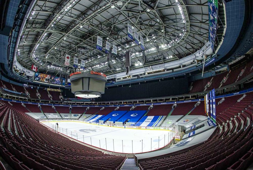 Rogers Arena has remained empty since the game between the Vancouver Canucks and Calgary Flames on March 31 was postponed due to COVID-19.