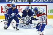 Maple Leafs goalie Jack Campbell makes a save in heavy traffic in front of the net during the second period in Toronto on Wednesday, April 7, 2021. JACK BOLAND/TORONTO SUN