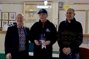 "John ""McStick"" McNaughton was inducted into the Nova Scotia Stick Curling Hall of Fame in a ceremony at New Glasgow's Bluenose Curling Club. Left to Right: Bruce Densmore, John ""McStick"" McNaughton and Haylett Clarke"