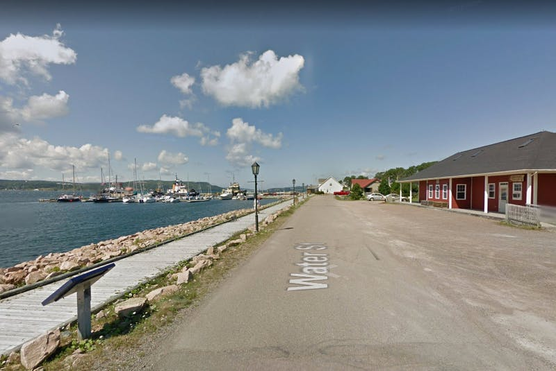 This Google Maps screen capture shows the location of the soon-to-come Portside Port Hawkesbury. The new waterfront eatery will be located at the Station House, shown on the right, on Water Street across from the boardwalk that runs along the Strait of Canso. CONTRIBUTED/GOOGLE MAPS - David Jala