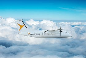A PAL Airlines Dash 8-100 aircraft, the plane being used when the airline starts offering Sydney to Halifax  flights from the JA Douglas McCurdy Sydney Airport as of May 31. PAL Airlines