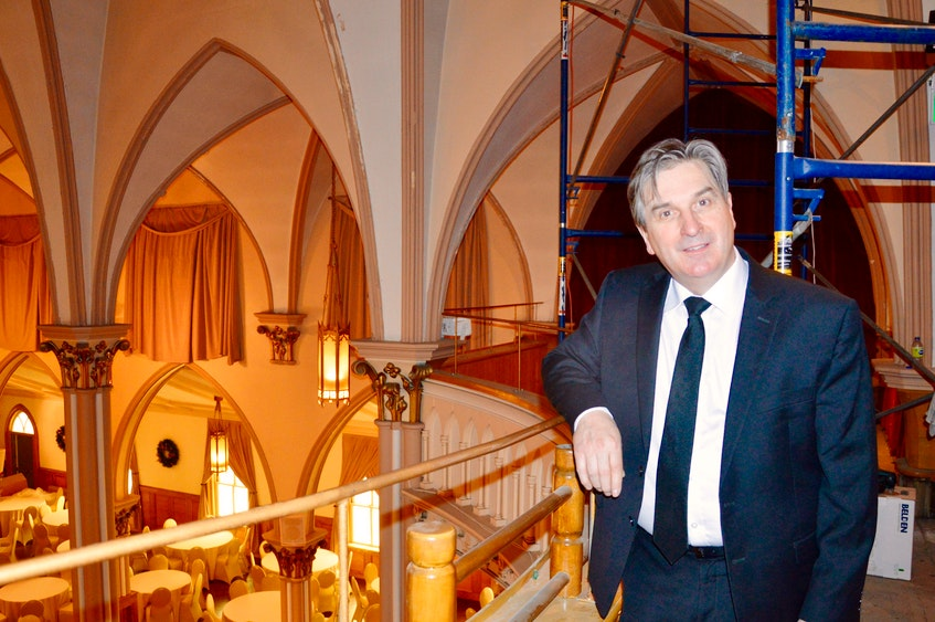 Sydney businessman Kevin Colford stands in the balcony of Sacred Heart Downtown in Sydney which will soon feature a VIP area. ELIZABETH PATTERSON • CAPE BRETON POST - Elizabeth Patterson
