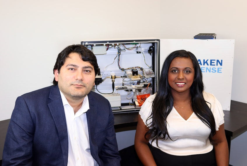 Nisha Sarveswaran, right, is shown with Kraken Sense co-founder Jamal Zeinalov. The Mississauga, Ont.-based company was one of four Canadian biotechnology enterprises associated with Cape Breton's Verschuren Centre for Sustainability in Energy and the Environment to receive federal loans this week. CONTRIBUTED