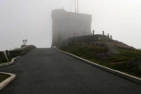 "Gary Mitchell sent this ""ghostly"" photo of the Cabot Tower in St. John's, N.L. He wrote: ""A NL description of such a day is  Mauzy Ole Day with the fog thick as pea soup..."" This photo makes me think of Halloween. Thank you for sharing, Gary."