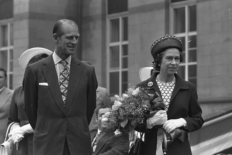 Prince Philip is seen with Queen Elizabeth at Halifax's Grand Parade on July 17, 1976. Prince Philip died peacefully Friday at Windsor Castle. - Herald file photo