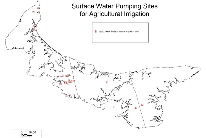 This is a map of agricultural surface water irrigation sites on P.E.I. - Energy and Climate Action Department of Environment