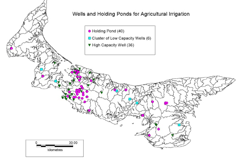 This is a map of holding ponds and high capacity wells on P.E.I. - Energy and Climate Action Department of Environment