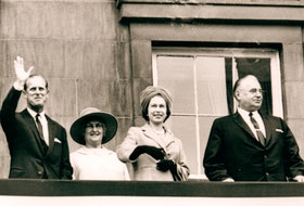 Prince Philip, left, Margaret Shaw, the Queen and P.E.I. Premier Walter R. Shaw are shown on the balconey of Province House in Charlottetown during the 1964 Royal Visit.