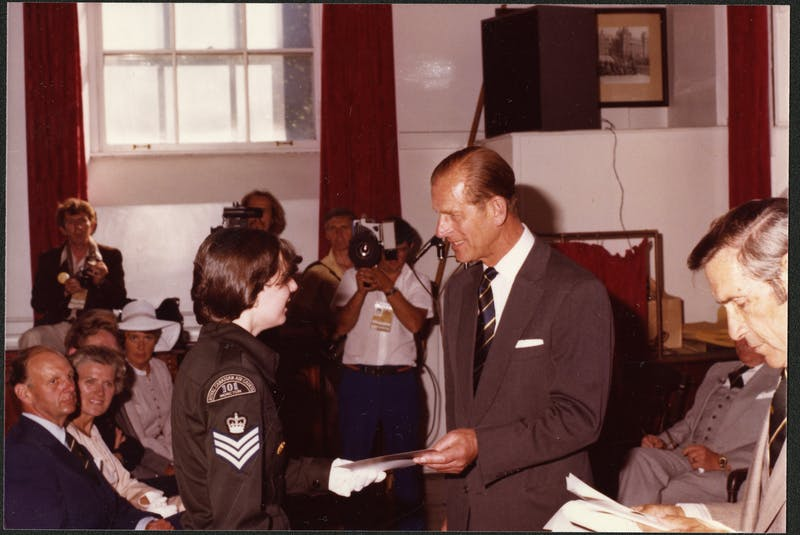 Prince Philip receives a gift from an air cadet during a Royal visit to Newfoundland and Labrador in 1978. — PHOTO COURTESY OF THE ROOMS 	(VA 70-14.2)