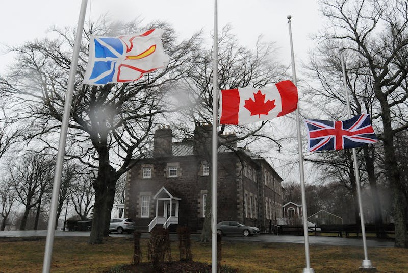 The Union Jack and other flags were flying at half-mast at Government House and other locations in St. John's on Friday morning in observance of the passing of Prince Philip. — Joe Gibbons/The Telegram