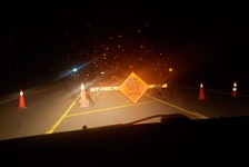 Susan MacVittie snapped this photo of a fake roadblock she encountered Tuesday night in New Haven.