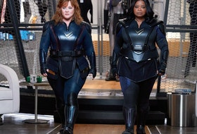 Nice suits, but good luck cleaning them: Melissa McCarthy and Octavia Spencer in Thunder Force.