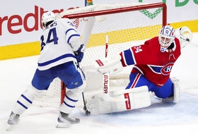 Canadiens goalie Jake Allen stops Toronto Leafs' Auston Matthews on a breakaway during a game last week. Montreal and Toronto will probably be first-round playoff opponents.