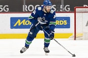 Tyler Motte of the Vancouver Canucks skates against the Winnipeg Jets at Rogers Arena on March 22, 2021.