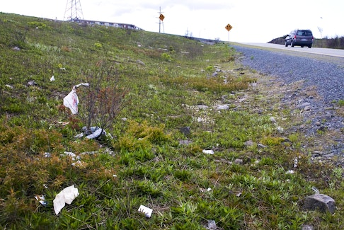 Garbage strewn beside a Nova Scotia highway. - File photo