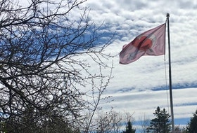 "Don Burch of Chester Basin sent this inspirational photo of a Heart Flag he raised during the latest COVID-19 shutdown. In many places, like Victoria, B.C., the Heart Flag is considered a symbol of solidarity, gratitude and hope. Don said he knows how much Cindy likes clouds. He said he will fly this flag ""until I can visit my children and grandkids again."" Thank you for sharing this photo, Don."