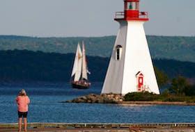 A lighthouse in Baddeck, Nova Scotia.