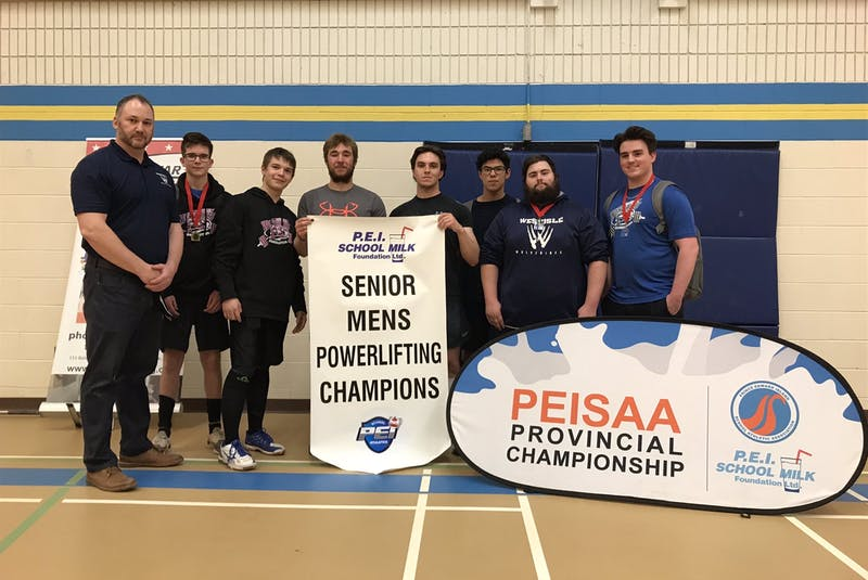 The Westisle Wolverines recently repeated as the Prince Edward Island School Athletic Association (PEISAA) senior boys' powerlifting champions. Team members are, from left: George Kinch (coach), Karch Porter, Jaxon Maynard, Turner Ellis, Garrett Culleton, Nathan Ellsworth, Jayden Doucette and Riley Arsenault. Missing from the photo is Chandler DesRoches. - Contributed
