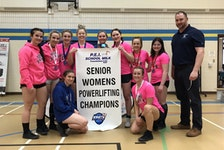The Westisle Wolverines recently won the girls' team championship at the Prince Edward Island School Athletic Association (PEISAA) senior powerlifting championships. Team members are, front row, from left: Morgan Burden and Belle Ashley. Back row: Molly McInnis, Sky MacLean, Heidi Thibodeau, Megan Kinch, Emma Coughlin, Maryn Kenny, Ella Hudson, Keira Millar and George Kinch (coach).