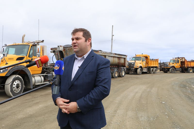 Bernard Davis, the province's minister of Environment and Climate Change, speaks to reporters Monday about the garbage and discarded items collected from the Outer Ring Road in St. John's on Sunday. Glen Whiffen/SaltWire Network. - Glen Whiffen