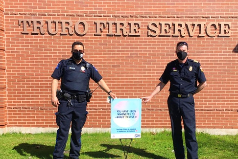 Truro Police handed the sign off to the Truro Fire Department.