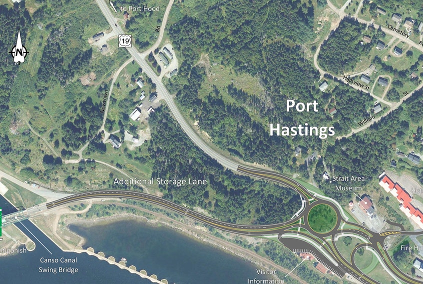A rendering of one potential option the province's Department of Transportation and Active Transit is considering for reconfiguring the Port Hastings rotary into a roundabout format. CONTRIBUTED
