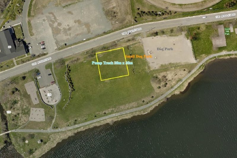 An aerial photo from the proposal document for St. John's city council shows the location of a pump track, which will be located on The Boulevard, adjacent to the dog park, by Quidi Vidi Lake. - Contributed