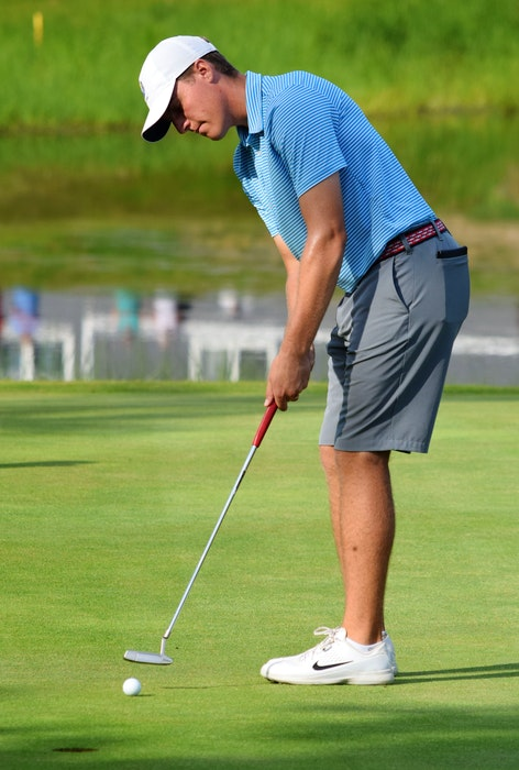 Chester's Matthew Chandler putts during the 2018 MCT men's amateur golf championship at River Hills Golf and Country Club. - SaltWire Network