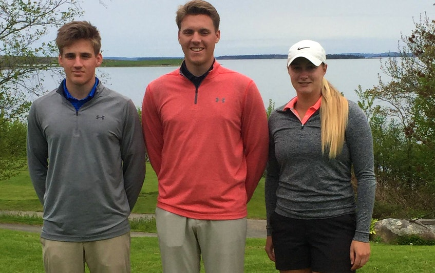 The Chandler family - from left, Mark, Matthew and Allison - of Chester each attended or are attending a U.S. college on a golf scholarship. - Glenn MacDonald