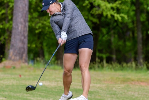 Gardner-Webb senior Allison Chandler of Chester tees off at the Big South Conference women's golf championship last month in Ninety Six, S.C. - GARDNER-WEBB ATHLETICS