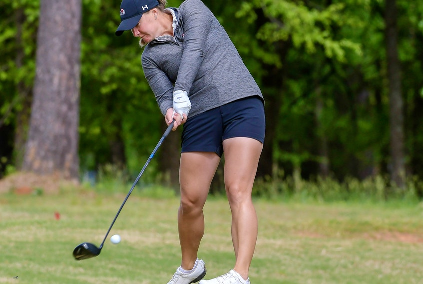 Gardner-Webb senior Allison Chandler of Chester tees off at the Big South Conference women's golf championship last month in Ninety Six, S.C. - GARDNER-WEBB ATHLETICS