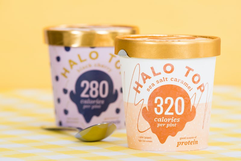 Halo Top offers a dairy-free line of vegan ice cream that's made from a base of coconut milk and includes fava bean protein in place of brown rice protein; inulin in place of soluble corn fiber; and cellulose gum and gel in place of carob gum and guar gum.  - RF Stock