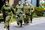 Members of the Canadian Armed Forces in front of Pickering's Orchard Villa long-term care home in May 2020. Veronica Henri/Postmedia